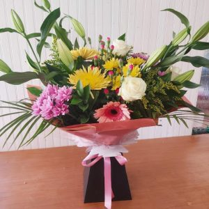 Yellow and pink large flower bouquet
