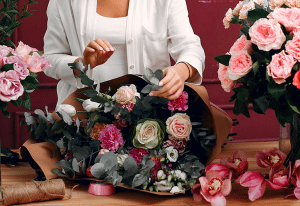 wedding flowers and the upper body of a woman